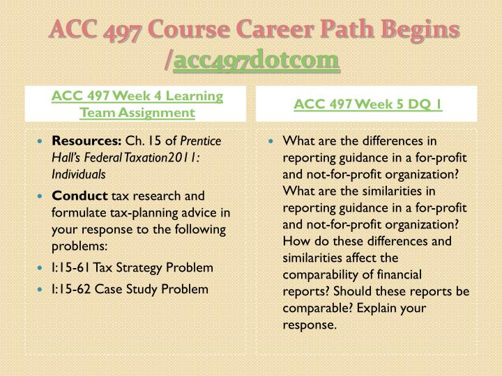 ACC 497 Week 4 Learning Team Assignment