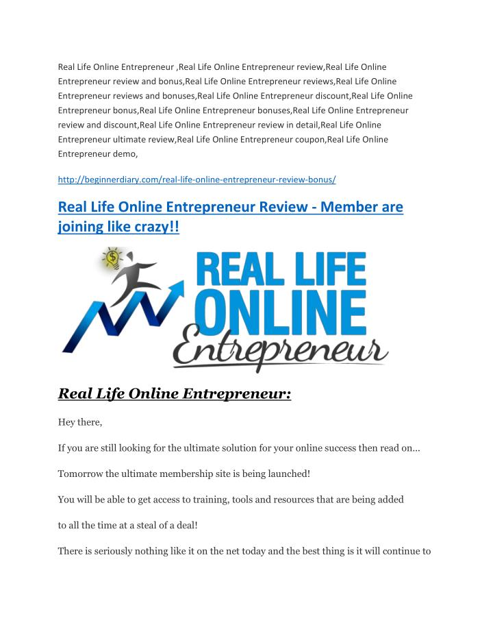 PPT - Real Life Online Entrepreneur review in detail – Real Life