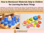how to montessori materials help to children for learning the basic things