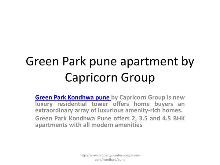 green park pune apartment by capricorn group n.