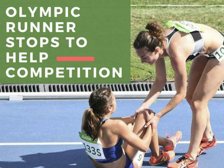 olympic runner stops to help competition n.