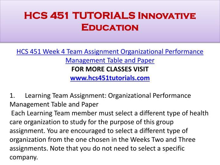 hcs 451 organizational performance management