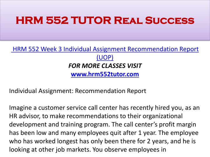 HRM 552 TUTOR Real Success