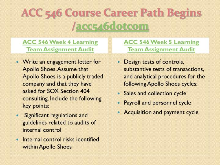 ACC 546 Week 4 Learning Team Assignment Audit