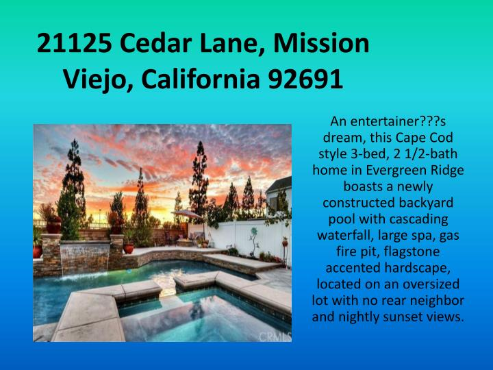 21125 Cedar Lane, Mission Viejo, California 92691