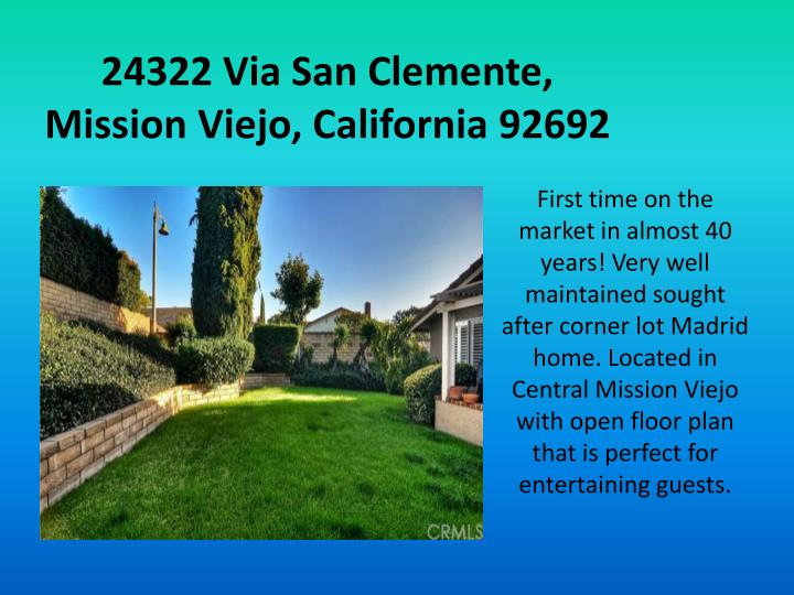 24322 Via San Clemente, Mission Viejo, California 92692
