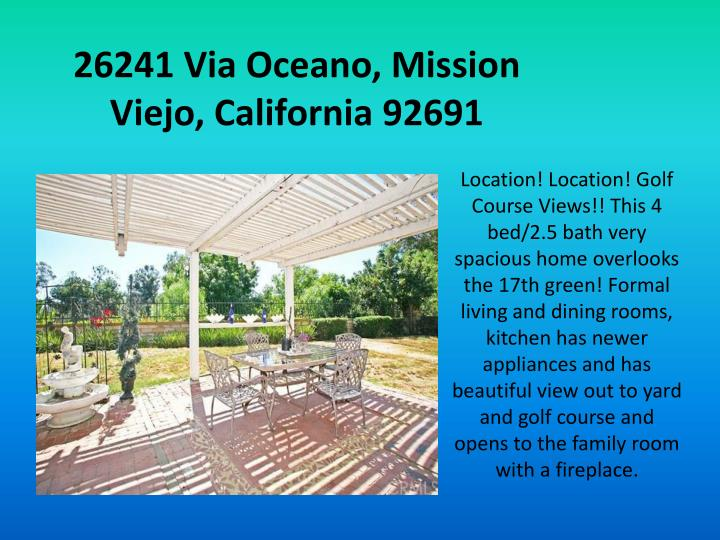 26241 Via Oceano, Mission Viejo, California 92691