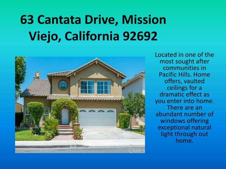 63 Cantata Drive, Mission Viejo, California 92692