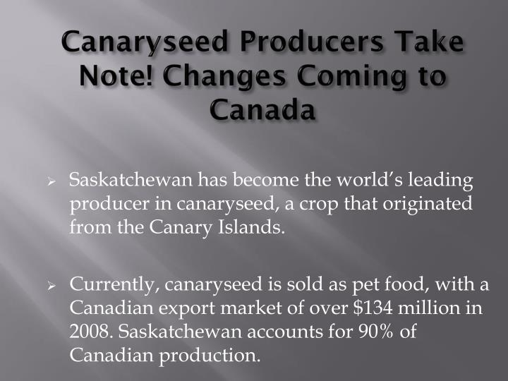 Canaryseed Producers Take Note! Changes Coming to Canada