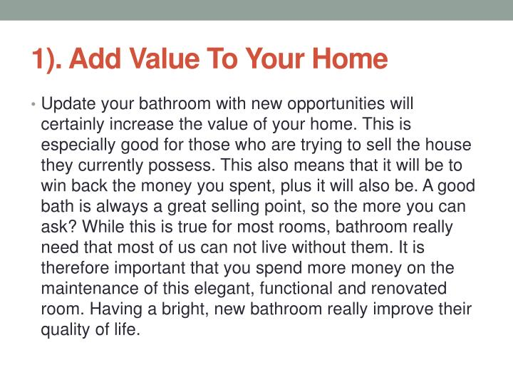 1 add value to your home