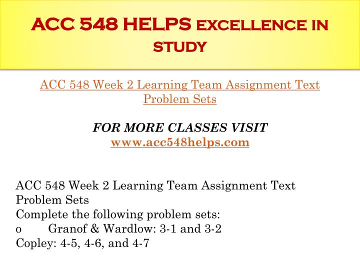 week 2 acc 548 Read the latest writing about acc 548 week 2 learning acc 548 week 2 learning show more tags.