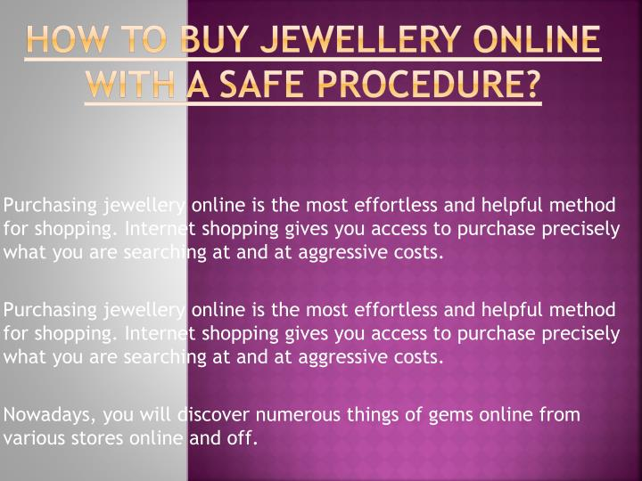 how to buy jewellery online with a safe procedure n.