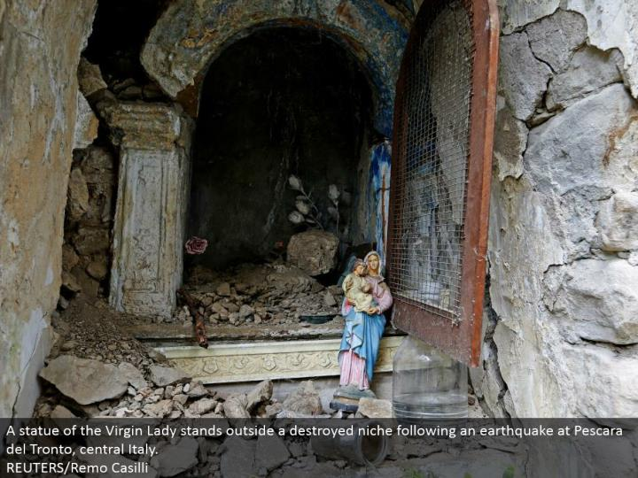 A statue of the Virgin Lady stays outside a destroyed strength taking after a seismic tremor at Pescara del Tronto, central Italy.  REUTERS/Remo Casilli