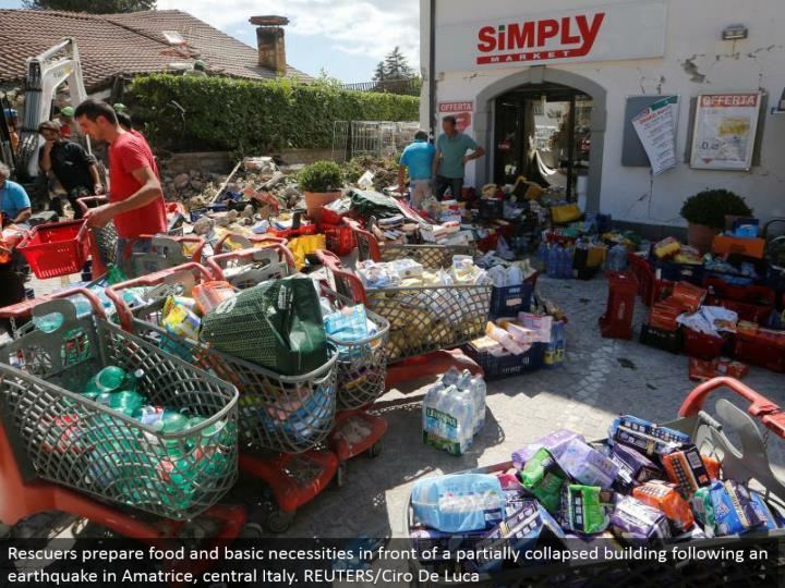 Rescuers get prepared sustenance and basic necessities before a to some degree separated building taking after a seismic tremor in Amatrice, central Italy. REUTERS/Ciro De Luca