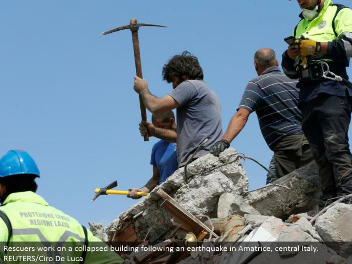 Rescuers tackle a collapsed constructing taking after a seismic tremor in Amatrice, central Italy. REUTERS/Ciro De Luca