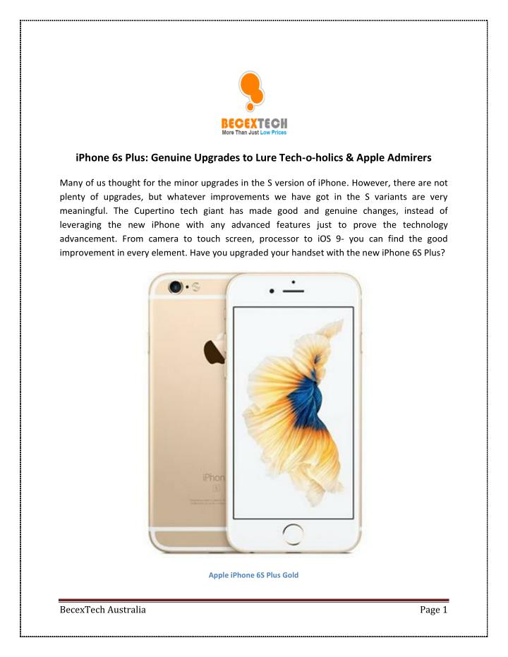 IPhone 6s Plus: Genuine Upgrades to Lure Tech-o-holics & Apple Admirers