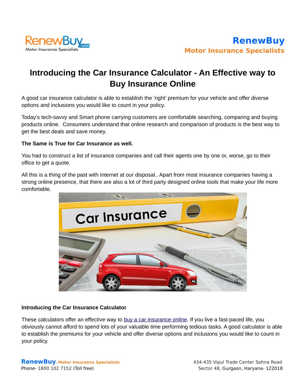 Ppt Introducing The Car Insurance Calculator An Effective Way To Buy Insurance Online Powerpoint Presentation Id 7390679