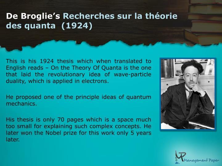 louis broglie dissertation