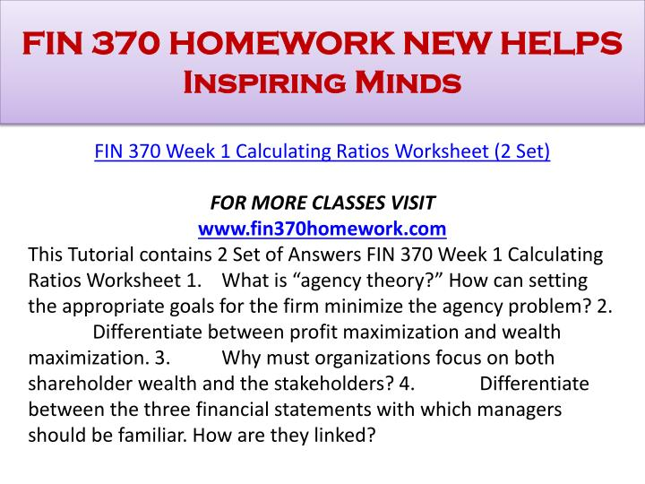 FIN 370 HOMEWORK NEW HELPS Inspiring Minds