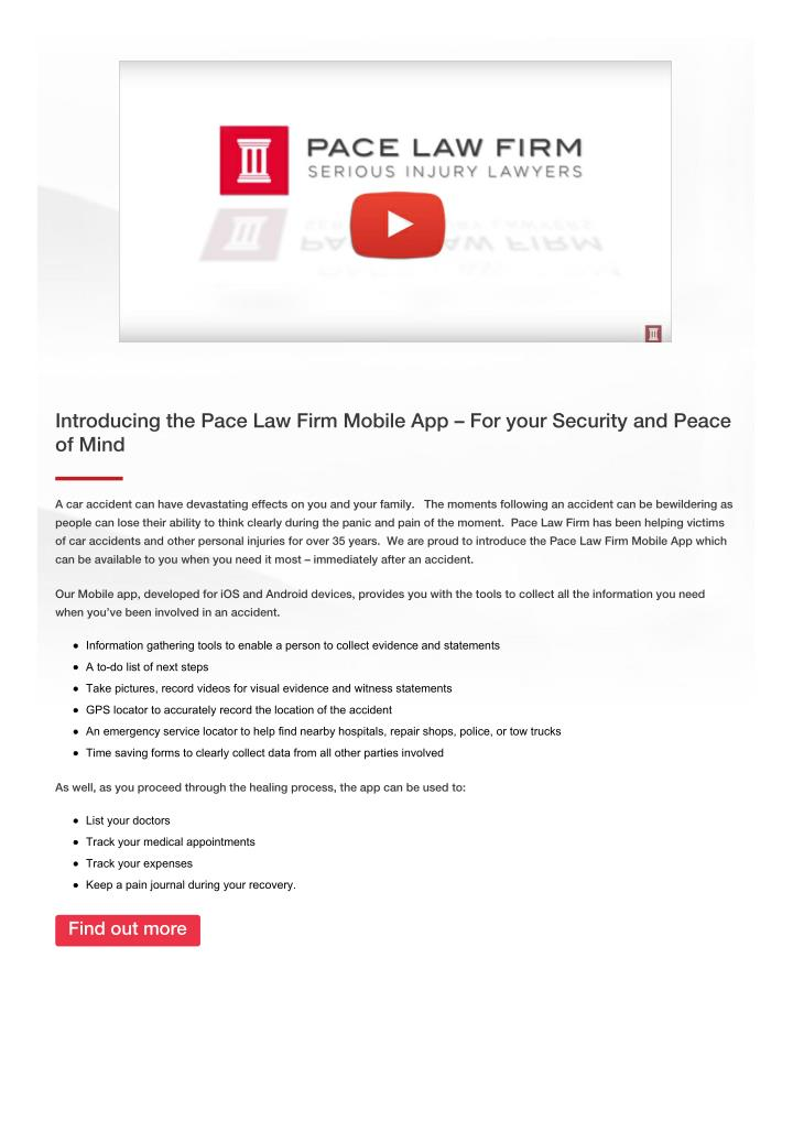 Introducing the Pace Law Firm Mobile App – For your Security and Peace
