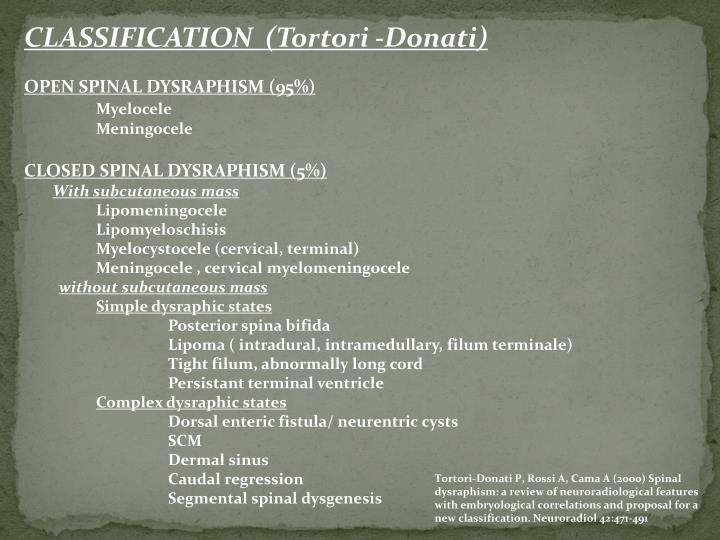 CLASSIFICATION  (Tortori -Donati)