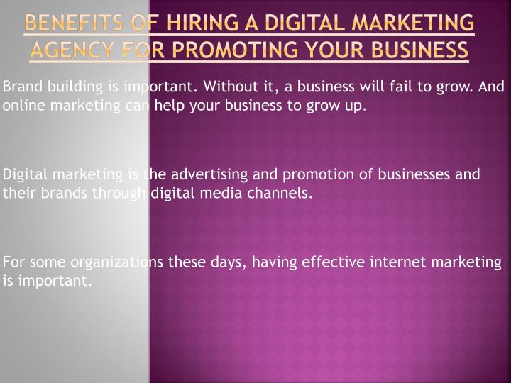 benefits of hiring a digital marketing agency for promoting your business n.