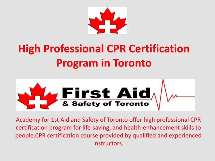 high professional cpr certification program in toronto n.
