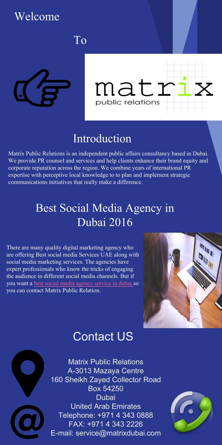 PPT - Best social media agency in dubai 2016 Matrix PR Dubai