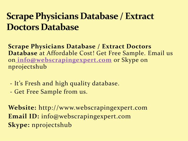 scrape physicians database extract doctors database n.