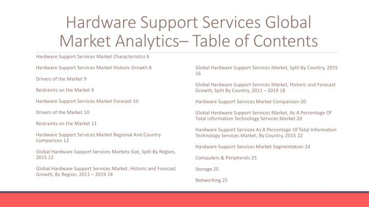Hardware support services global market analytics table of contents
