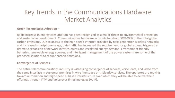 Key trends in the communications hardware market analytics
