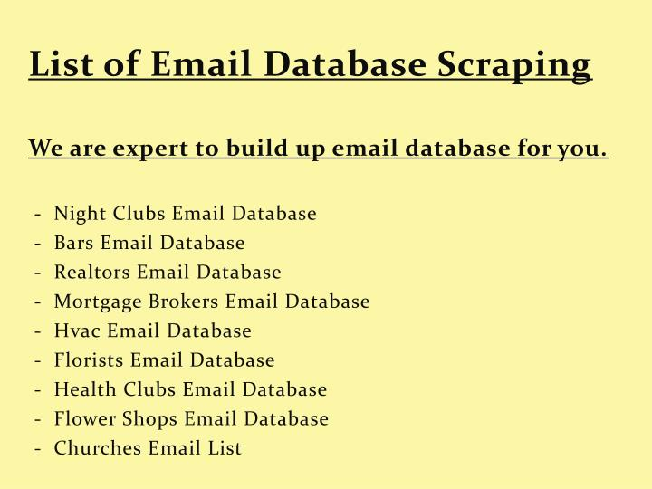 List of Email Database Scraping