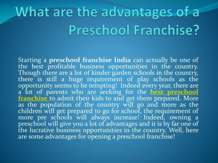 what are the advantages of a preschool f ranchise n.