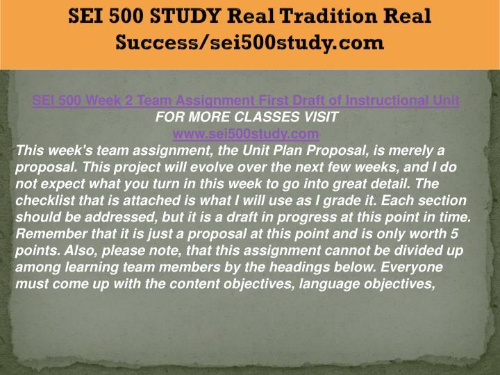 SEI 500 STUDY Real Tradition Real Success/sei500study.com