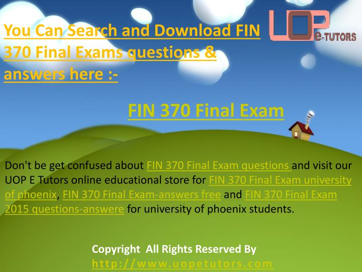 fin 370 week 5 final exam question and answers Fin 370 finance for business  fin 370 week 5 precision machine part 2 fin 370 final exam, 02 sets (60 questions and answers) fin 370 week 1,.