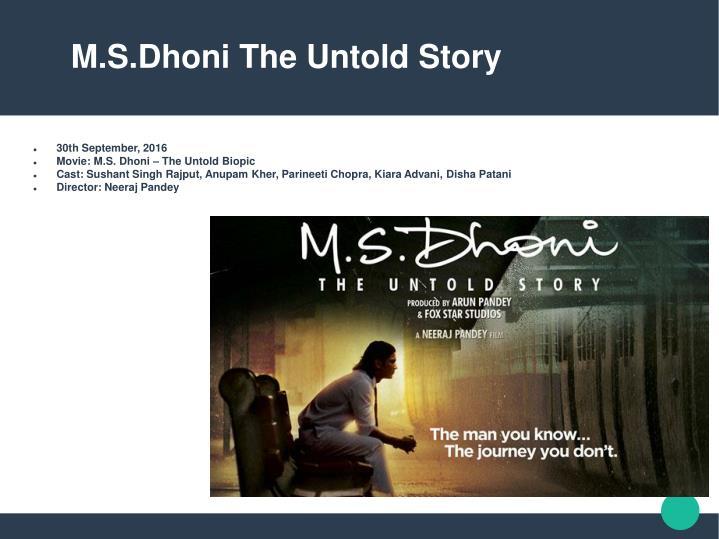 M.S.Dhoni The Untold Story