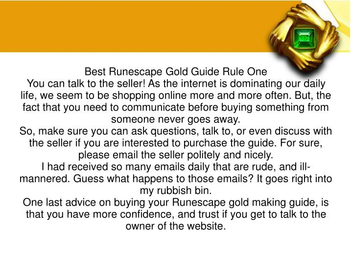 Best Runescape Gold Guide Rule One