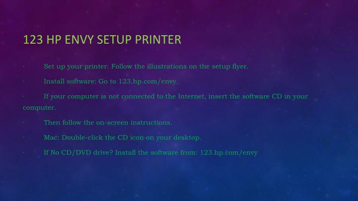 123 hp envy setup printer