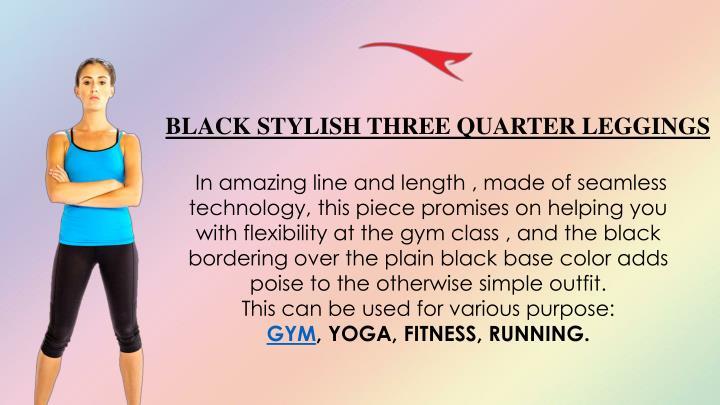 BLACK STYLISH THREE QUARTER LEGGINGS