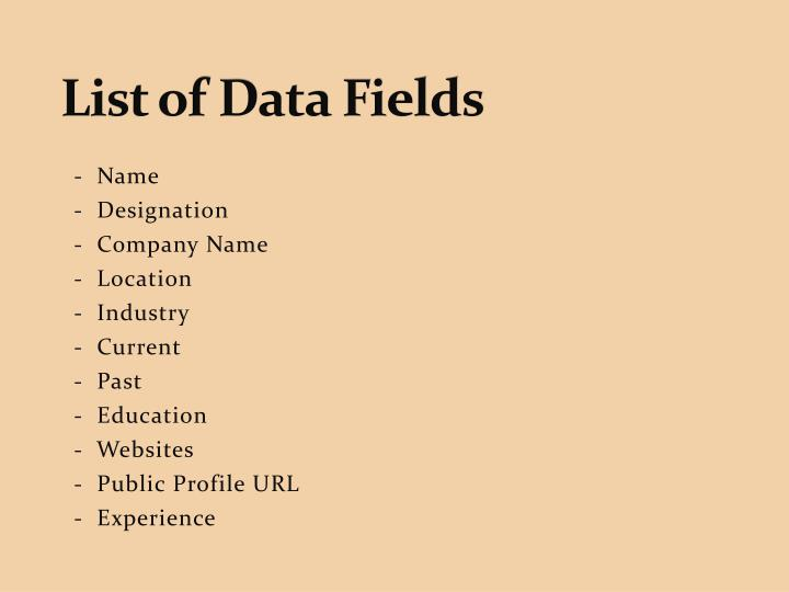 List of Data Fields