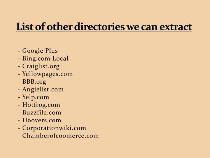 List of other directories we can extract