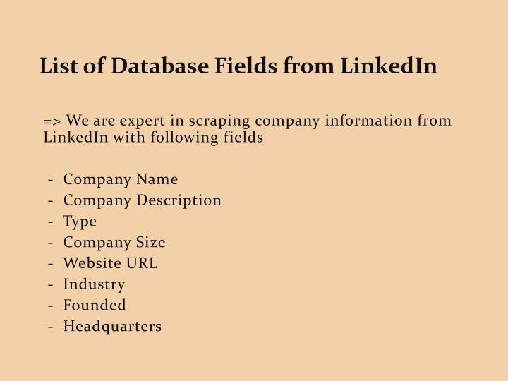 List of Database Fields from LinkedIn