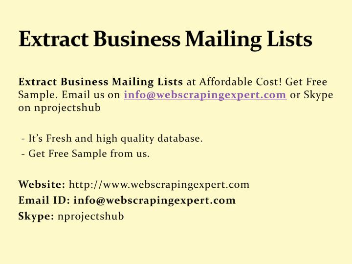 extract business mailing lists
