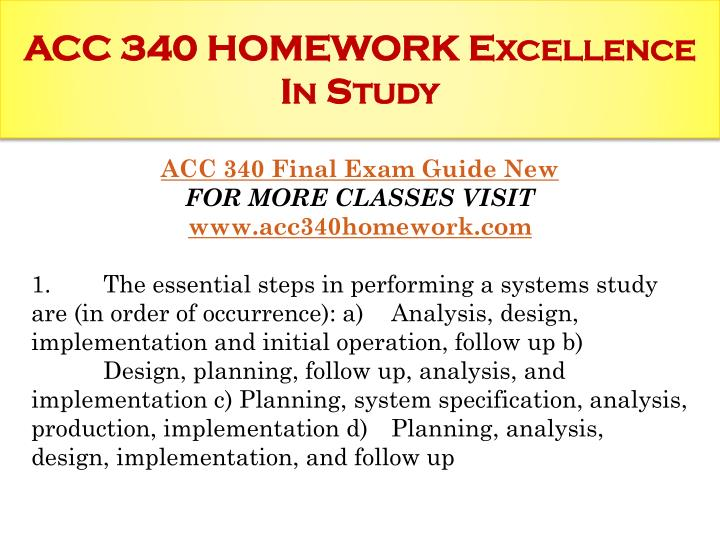 Acc 340 homework excellence in study1
