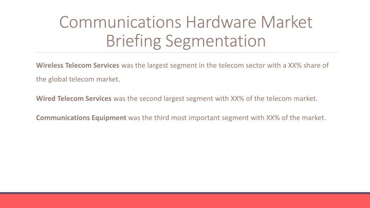 Communications hardware market briefing segmentation