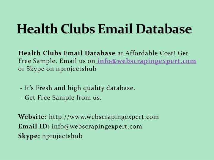 health clubs email database n.
