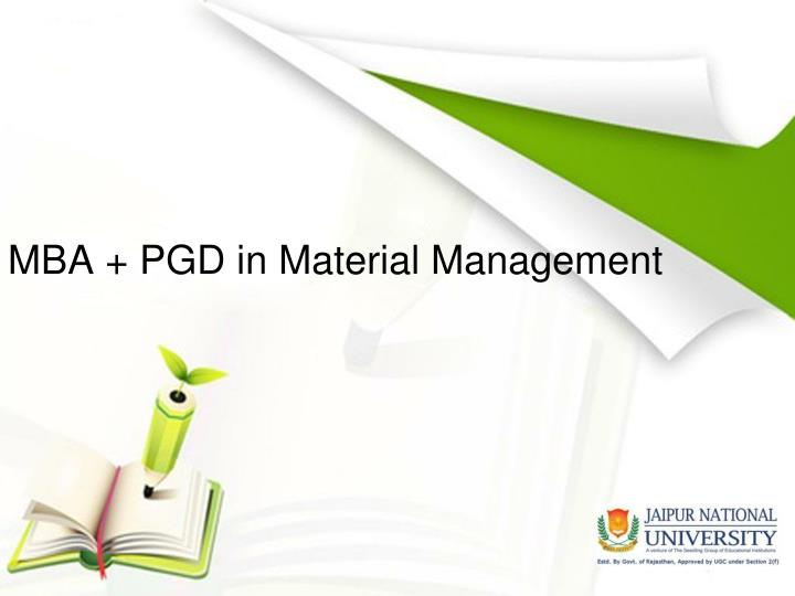 mba pgd in material management n.