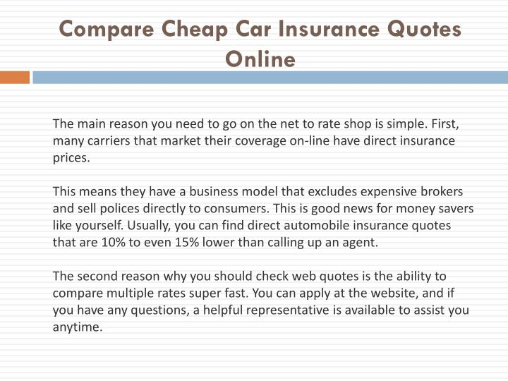 Car Insurance Quote Without Personal Details: Compare Cheap Car Insurance Quotes Online PowerPoint