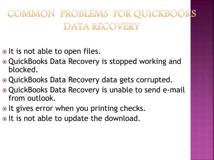 Common problems for quickbooks data recovery