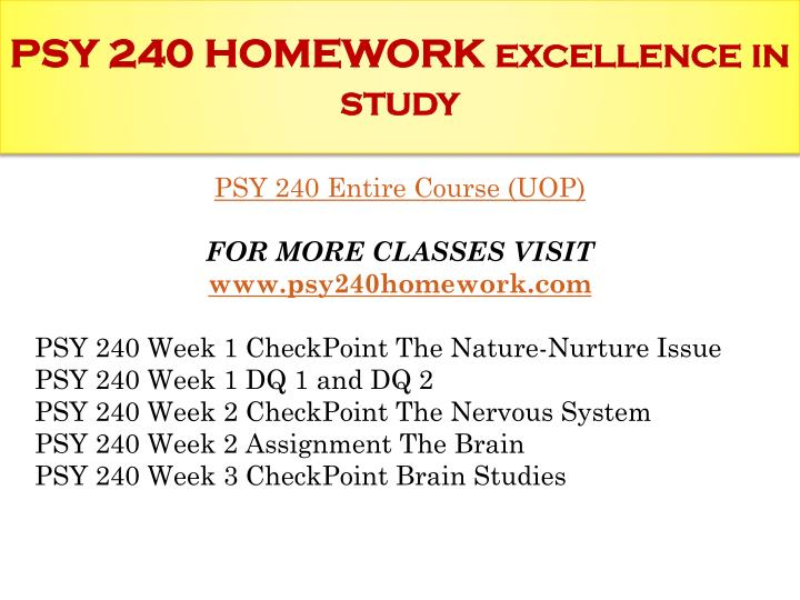 week 1 psy 240 checkpoint essay Essay example: psy 230 instant education/uophelp we will write a custom essay sample  on any topic  specifically for you  psy 230 week 1 checkpoint observations.